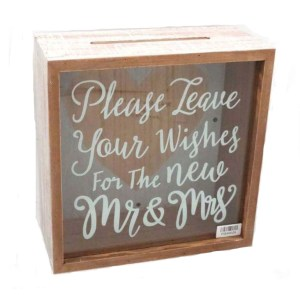 Decorative Wooden with Acrylic Front WISHING WELL Wedding Engagement Card Box NEW