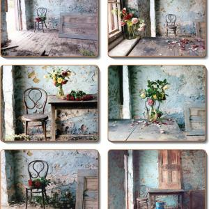 Country Inspired Kitchen BLUE ROOM Cinnamon Cork backed Placemats/Coasters Set 6