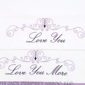 Preprinted Stamped Embroidery, Pillowcases Stitching I LOVE YOU Fabric Wedding Gift NEW