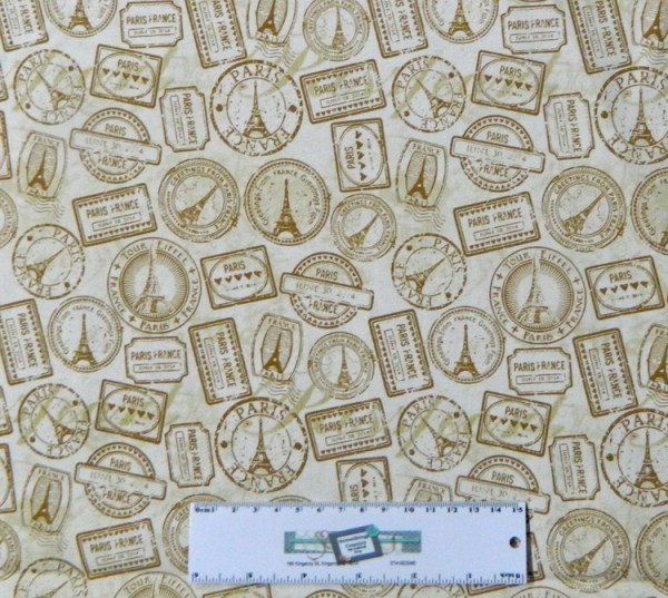 Patchwork Quilting Sewing Fabric PARIS TRAVEL STAMPS Material 50x55cm New