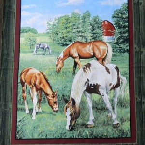Patchwork Quilting Sewing Fabric VALLEY CREST HORSE Panel Cotton Material 90x110cm New