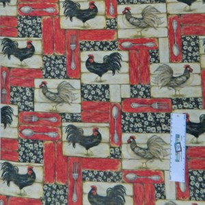 Quilting Patchwork Sewing Fabric RED KITCHEN ROOSTERS Cotton 50x55cmFQ NEW Freepost