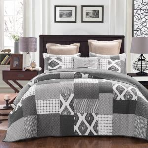French Country Vintage Inspired Patchwork Bed Quilt STONEWASH New Coverlet