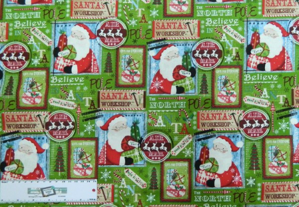 Quilting Patchwork Sewing Fabric XMAS SANTAS WORKSHOP 50x55cm FQ NEW Material