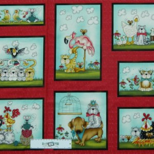 Patchwork Quilting Sewing Fabric FOWL PLAY CATS DOGS Panel 60x110cm New