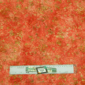 Quilting Patchwork Sewing Fabric BATIK DARK CORAL SALMON LEAVES 50x55cm FQ New