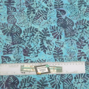 Quilting Patchwork Sewing Fabric BATIK LUSH BLUE LEAVES 50x55cm FQ New