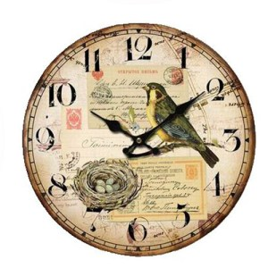 Clock Country Vintage Inspired Wall Clocks 34CM YELLOW BREAST BIRD WITH NEST New Time