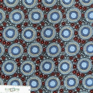 Patchwork Quilting Sewing Fabric ABORIGINAL WILD FLORAL BLUE Material Cotton 50x55cmFQ New