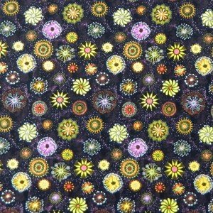 Patchwork Quilting Fabric GOANNA WALK STARBURST PINK/GREEN Aboriginal FQ 50X55cm NEW