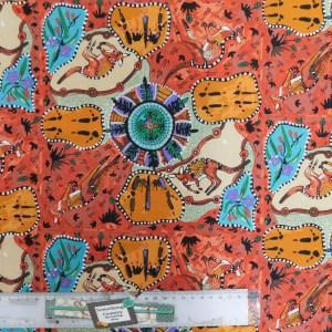 Quilting Patchwork Sewing Fabric MIRRAM KANGAROO ABORIGINAL Material 50x55cmFQ NEW
