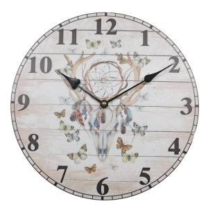 Clock Country Vintage Inspired Wall Clocks 34CM INDIAN SKULL DREAM CATCHER New