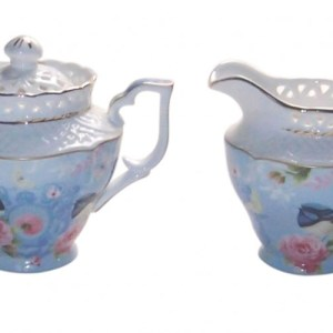French Country Chic China Kitchen BLUE WREN Sugar and Creamer Set FREE POST New