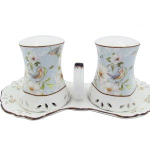 French Country Chic Collectable Salt and Pepper Set WHITE ROSE with TRAY New