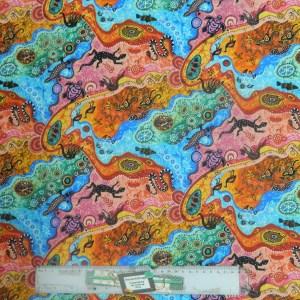 Patchwork Quilting Sewing Fabric ABORIGINAL DILKARA BRIGHT Material 50x55cm FQ New