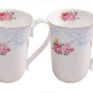 French Country Chic Kitchen Coffee Mugs Elegant BLUE ENGLAND ROSE Set of 2 New