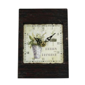 French Country Table Clock Small Metal Vase Flowers 12x17cm New