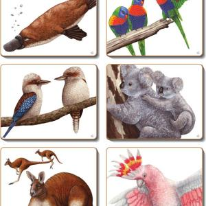 Country Kitchen AUSSIE ANIMALS Cork Backed Placemats or Coasters Set 6 NEW Cinnamon