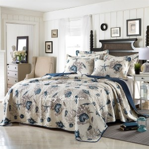 French Country Patchwork Bed Quilt COASTAL ELEGANCE New Coverlet KING/QUEEN
