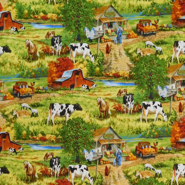 Patchwork Quilting Sewing Fabric OLD FARMSTEAD ALLOVER 50x55cm FQ New