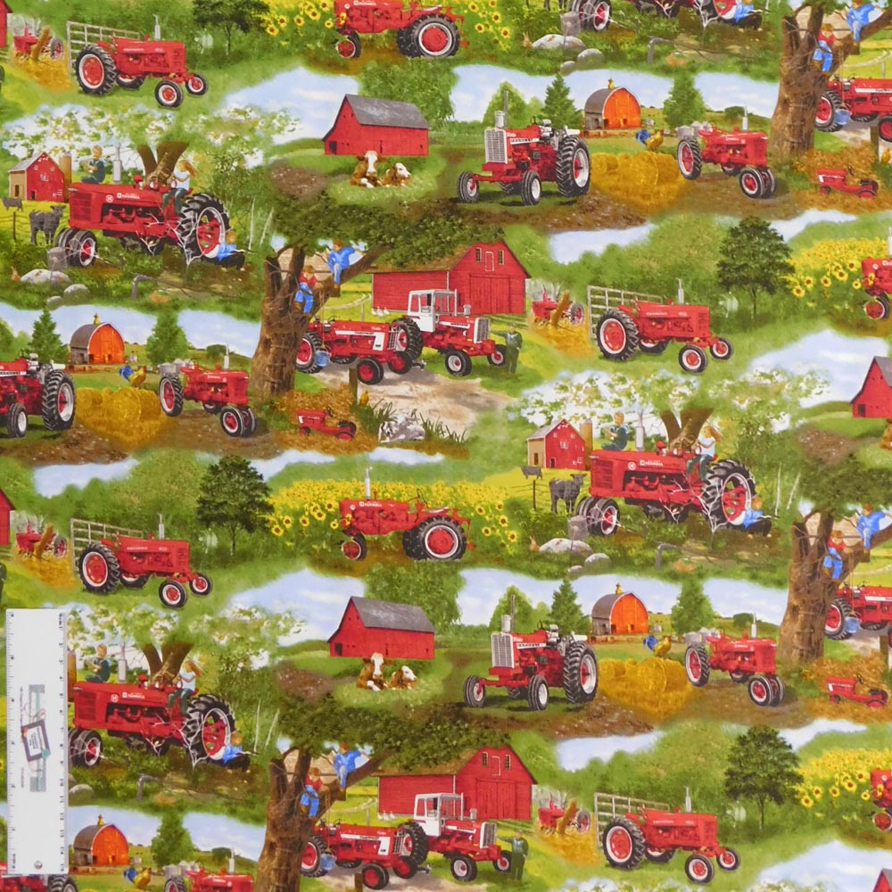 Patchwork Quilting Fabric FARMALL FARM TRACTOR Sewing Material Cotton FQ50X55cm