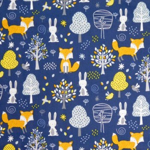 Patchwork Quilting Sewing Fabric FOX & BUNNY WOODS 50x55cm FQ New