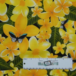 Patchwork Quilting Sewing Fabric GOLD FRANGIPANIS Material 50x55cm FQ New