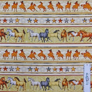 Patchwork Quilting Sewing Fabric MUSTANG SUNSET HORSES BORDER 50x55cm FQ New