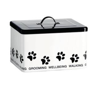 Enamel Retro Enamel Dog or Pet Accessories Box Storage Tin White FREEPOST