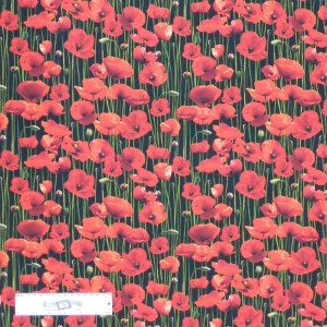 Patchwork Quilting Sewing Fabric ANZAC POPPYS Allover 50x55cm FQ New