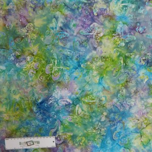 Patchwork Quilting Sewing Fabric BATIK BLUE GREEN BUTTERFLY 50x55cmFQ New