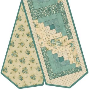 Quilting Sewing WELCOME HOME QUILT LOG CABIN BLUE TABLE RUNNER KIT inc Fabric New