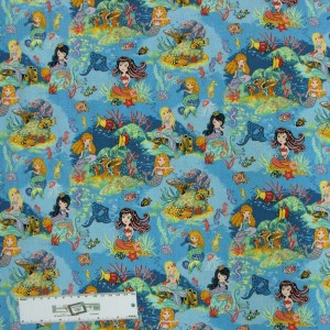 Patchwork Quilting Sewing Fabric MERMAIDS AQUATIC 50x55cm FQ New