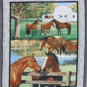 Patchwork Quilting Sewing Fabric SUMMER HORSES Panel 60x110cm New
