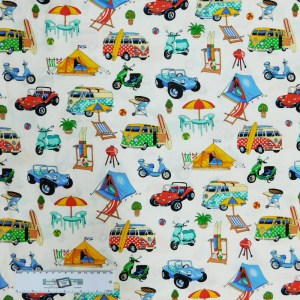 Patchwork Quilting Sewing Fabric GETAWAY CAMPING KOMBI 50x55cm FQ New