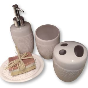 French Country Pink Bathroom Set 5 Soapdish, Toothbrush, Soap Holders New