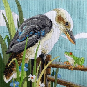 Country Threads Long Stitch Kit Kookaburra & Frog Australian Birds New FLS5009