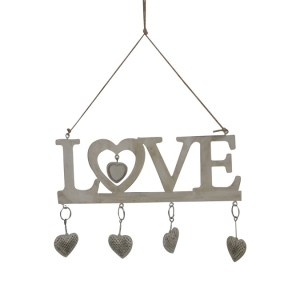 French Country Vintage Metal Distressed White Love Hanger Hearts Sign New