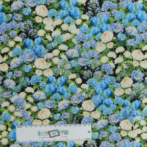 Patchwork Quilting Sewing Fabric Hydrangeas Blue 50x55cm FQ New Material