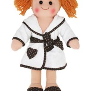 Lovely Soft Rag Doll Amelia, Dressed in a Bathrobe Girl Dolly 25cm New