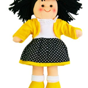 Lovely Soft Rag Doll Lola Dressed with a Yellow Coat Girl Dolly 25cm New