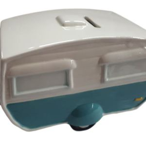 French Country Caravan 1 Money Box Blue Campervan Design China New Freepost