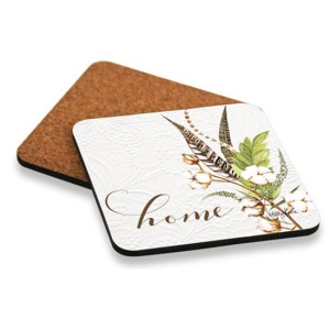 Kitchen Cork Backed COASTERS Poppy Leaves Home Set 6 NEW