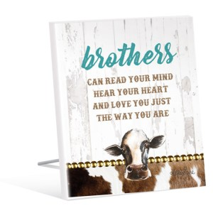 French Country Vintage Inspired Wall Art Wooden Brothers Love Cow Sign NEW