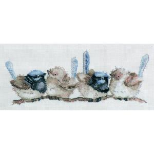DMC Australian Collection Cross Stitch Kit inc Threads Blue Wrens Birds New 582100