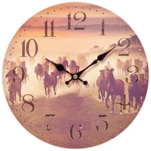 Clock French Country Vintage Inspired Wall Clocks 34cm Sunset Horses New