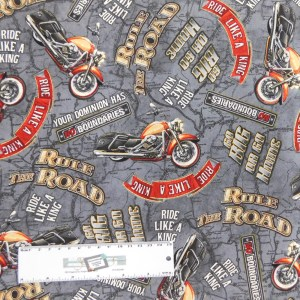 Patchwork Quilting Sewing Fabric Rule the Road Motorbike 50x55cm FQ New