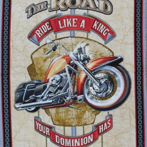 Patchwork Quilting Sewing Fabric Rule the Road Motorbike Panel 60x110cm New