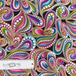 Patchwork Quilting Sewing Fabric Catitude Metallic Swirls 50x55cm FQ New