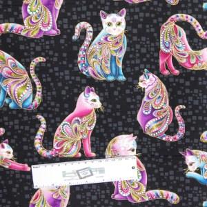 Patchwork Quilting Sewing Fabric Catitude Metallic Bright 50x55cm FQ New
